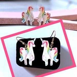 Wooden Rainbow Unicorn Fishhook Pierced Earrings